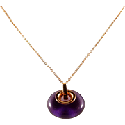 Unique amethyst removable pendant in 18K solid rose gold with adjustable cable chain in stamped 18K solid gold