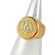Mexican pesos gold coin ring set on a 14K solid gold wide band, Dos peso stamped currency ring, gold signet ring