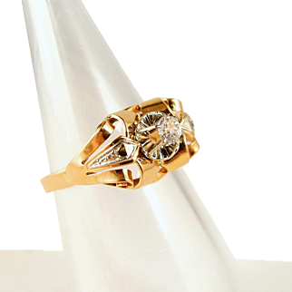 Chic 1940s Retro 18K solid gold ring, stamped French gold bridge ring, two tone gold chevalière ring
