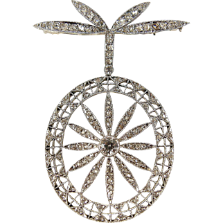Outstanding Platinum and diamond brooch, genuine original Art Nouveau pin peppered with natural diamonds
