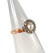 Antique late Victorian, Edwardian stamped 18K solid gold ring with pearl and diamonds, stamped gold ring
