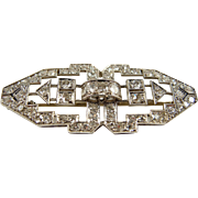Stunning Art Déco brooch in platinum 950 and natural diamonds, fully hallmarked