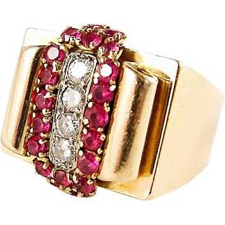 Heavy Art Deco ring in 18K solid gold with diamonds and red paste stones, fully stamped