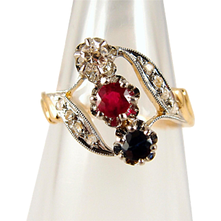 Art Nouveau 18K solid gold bypass ring with natural gemstones, stamped 3 stone trilogy ring