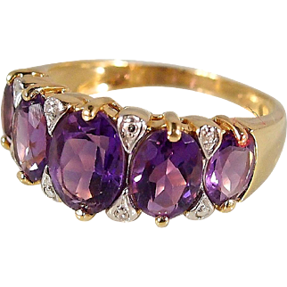 Fascinating natural faceted amethyst ring in 18K solid gold Stamped French fine gold band enhanced with diamonds