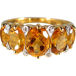 Beautiful citrine and 18K solid gold ring enhanced with small diamonds, stamped French fine gold ring