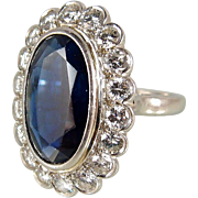 SOLD Stunning platinum, sapphire and diamond ring Over 10ct large natural sapphire and 1.80ctw natural diamonds Stamped fine jewelry