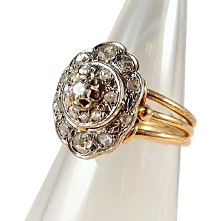 Superb three-tier stamped 18K solid gold ring with 0.54ctw old European and rose cut diamonds, Two tone fine gold jewelry