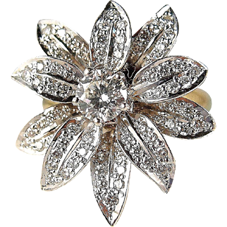 Stunning natural diamond flower ring in 18K solid white gold, stamped solid yellow gold band