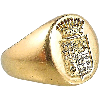 Antique armorial signet women's ring in 18K solid gold, stamped count coronet family crest band