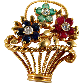 Basket of flower brooch with Diamonds Emeralds Rubies and Sapphires Bouquet set in stamped 18K solid yellow gold