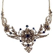 Exceptional Napoléon III solid 18K gold and silver necklace, Victorian sapphires and diamonds drapery necklace