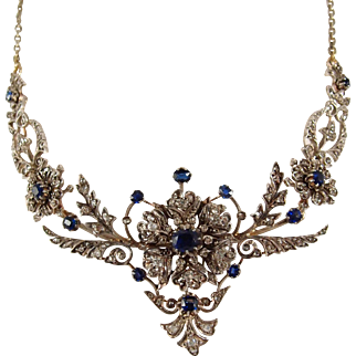 Exceptional Napoléon III solid 18K gold and silver necklace, #Victorian #sapphires and #diamonds #drapery necklace