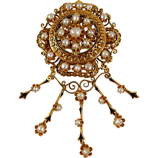 Rare large Victorian era French Napoleon III brooch in 18K solid gold, enamel and pearls