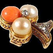 Splendid clover brooch in 18K solid gold, 0.65ctw European cut diamonds, 3 luscious pearls, stamped, Ca. 1930s