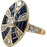 French Art Déco marquise ring in stamped 18K solid gold, natural sapphires, earth mined diamonds