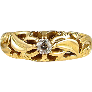 Estate solid 18K gold French ornate band with European cut diamond Alternative engagement ring Hallmarks