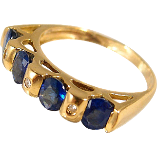 Stunning 18K Solid Gold Wedding Band, French stamped gold, sapphire and diamond engagement Ring