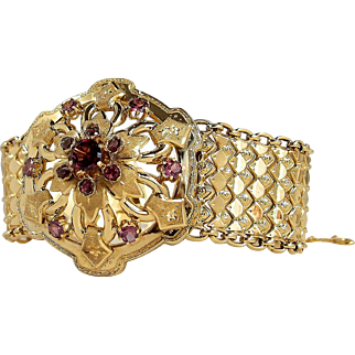 Stunning Victorian flexible bracelet with faceted garnets in 18K solid gold, Fine French gold cuff, ribbon fancy links, 1890s