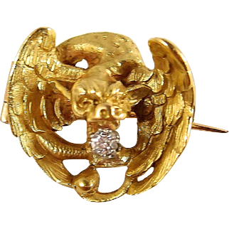Rare 18K solid gold chimera, French stamped heavy griffin with old European cut diamond, Circa 1870