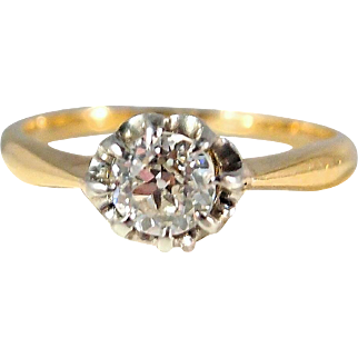 Amazing prong setting for a gorgeous 0.35ct old European cut solitaire, Fine stamped French 18K solid gold, Natural perfect gemstone