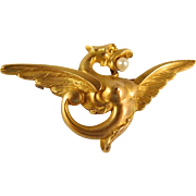 French Antique 18 carat yellow Gold griffin brooch with pearl, whimsical creature, stamped fine dragon pin Ca 1900s