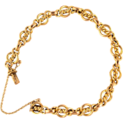 18K solid gold French bracelet, stamped fancy link, late Victorian era heavy chain bracelet