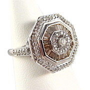 Champagne and white sparkling French diamond ring on stamped 18K solid white gold