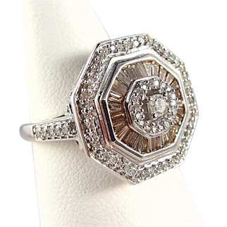 Champagne and white sparkling French diamond ring on stamped 18K solid white gold Octagonal fine vintage ring