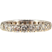 Estate diamond eternity ring, French wedding band in 18K solid gold brilliant cut diamonds, stamped.