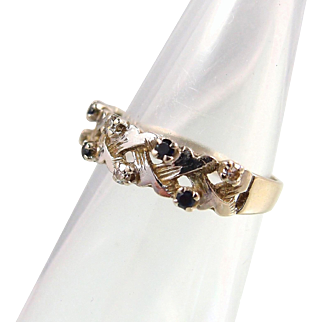 Unique 18K solid gold, sapphire and diamond wedding band, stamped Retro engagement ring, natural gemstones band