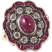 Superb Edwardian era 18K solid gold and silver statement halo ring with a ruby cabochon and diamonds Hallmarked