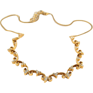 Elegant 18K solid gold necklace with brilliant cut diamonds, unique expandable chain, stamped fine jewelry
