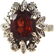 Gorgeous garnet and diamond ring set in 18K solid gold stamped French fine bridal ring Solidly crafted bridal jewelry