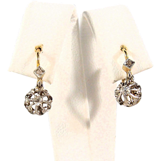 Edwardian era French 18K solid gold dangling earrings with diamonds, stamped fine French dormeuses