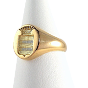 Antique armorial coronet family crest ring, 18K solid gold signet ring, Stamped fine gold jewelry, French fine gold ring