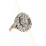Splendid solid gold ring with diamonds Fine French jewelry 18K stamped white gold Edwardian gold ring