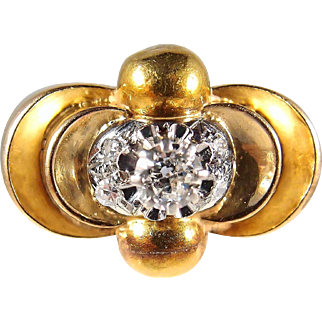 Fabulous Heavy Art Deco ring 18K solid gold Step down bridge ring French stamped Circa 1930