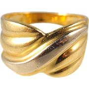 Quality craftsmanship on this wide 18K solid bicolor gold band Stamped Fine French gold ring