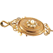 Victorian era 18K yellow solid gold pendant and brooch with pearls Stamped Fine French jewelry