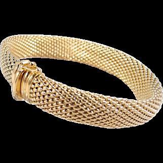Estate 18K solid gold stamped French bracelet Superb heavy unusual design Fine gold bracelet Modified Cuff and bangle