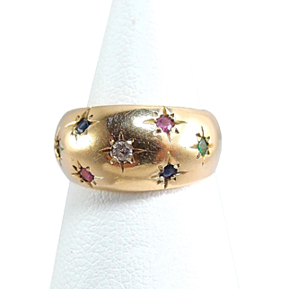 7 stars 18K solid gold ring Fine stamped gold band Natural diamond rubies, sapphires and emeralds