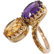 Double gemstone 18K solid gold large crossover ring Stamped French gold Faceted multistone statement ring