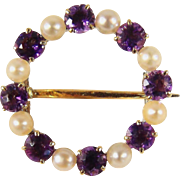 Late Victorian circle brooch with amethyst and pearl, stamped 14K and 18K pin, French gold jewelry