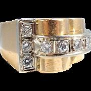 18K solid gold heavy bridge ring Deco period Brilliant cut diamonds, Fine gold French jewelry