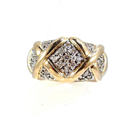 Wide and heavy 18K solid gold ring with 27 natural round cut diamonds Stamped fine French gold band