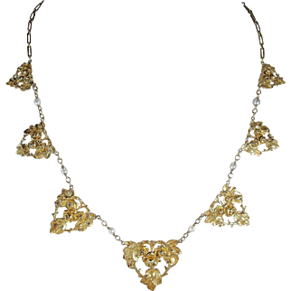 Napoleon III era French 18K solid gold necklace with natural pearls Superb estate drapery necklace