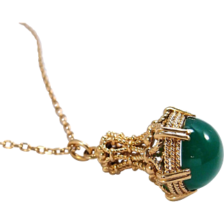 Massive chrome chalcedony pendant and cable chain in 18K solid gold Stamped French jewelry