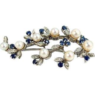 Estate 18K solid gold Pin with Akoya pearls Diamonds sapphires Hallmarked French Art Nouveau fine jewelry