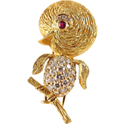 Estate 18K solid gold unique vintage stamped bird covered with brilliant cut diamonds and faceted ruby eyes